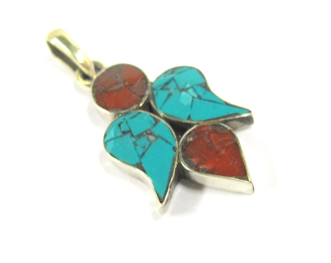 1 Pendant - Ethnic Tibetan silver paisley drop pendant with turquoise coral inlay - PM382