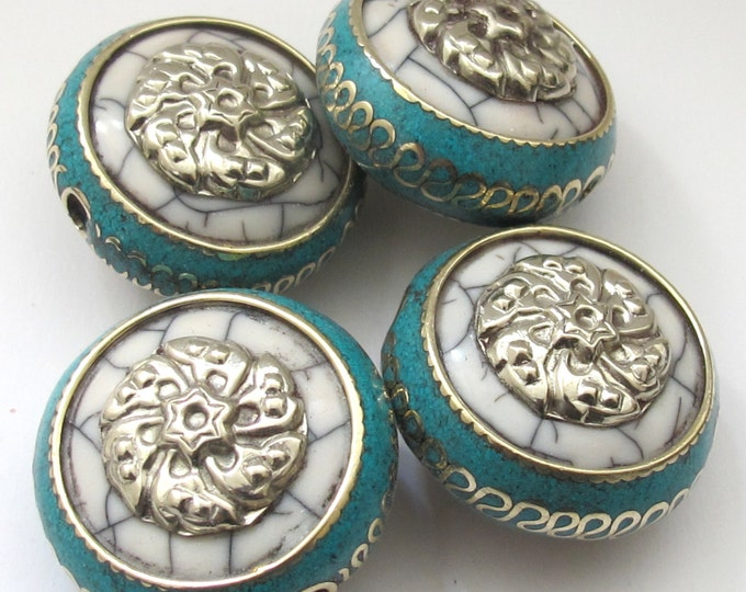 1 BEAD -  Reversible Tibetan white crackle resin bead with turquoise and brass inlay and silver star floral design - BD519D