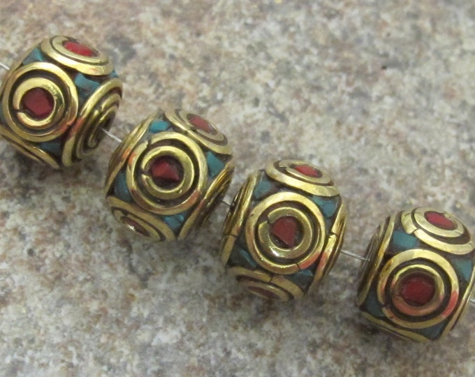Nepalese Brass cube beads with turquoise coral circles - 2 beads - BD092