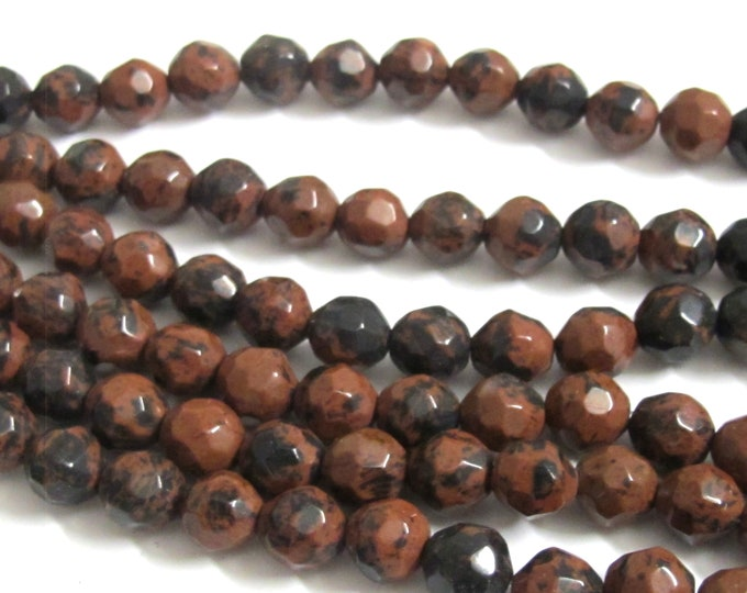 108 beads for mala  jewelry making - Faceted brown black mix Tibetan  agate gemstone beads 7- 8 mm - GM221K
