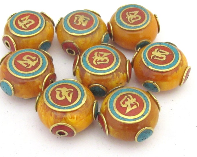 2 BEADS - Large 24 mm size Tibetan copal resin Om bead with brass , turquoise and coral inlay  -  1 bead - BD684