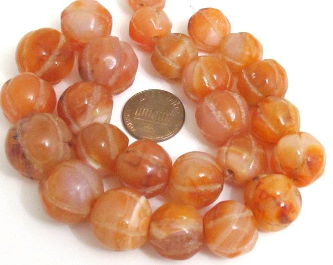 Old Nepal Himalayan Carnelian melon shape gemstone beads Full strand naga beads medium large size per strand 12-13 mm to 18-21 mm - GM026K