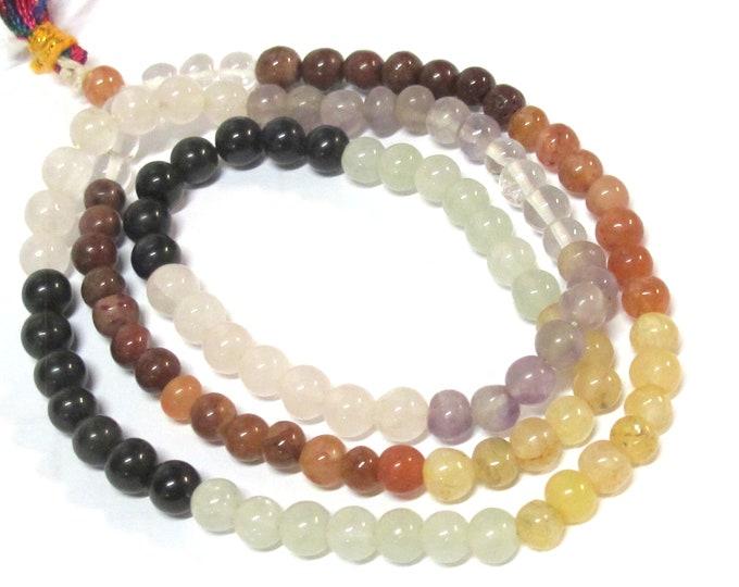 108 beads - chalcedony Quartz agate amethyst seven chakra mix  gemstone mala making supplies Nepalbeadshop - 6 mm from Nepal -  ML002T