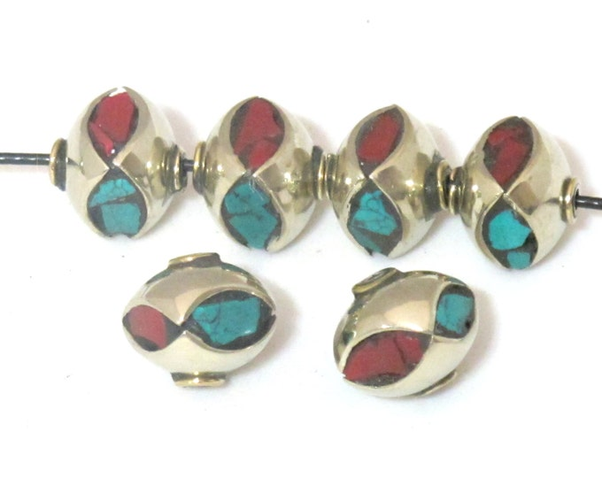 Beautiful Nepalese beads with turquoise coral eye shape inlay - 1 bead-  BD474