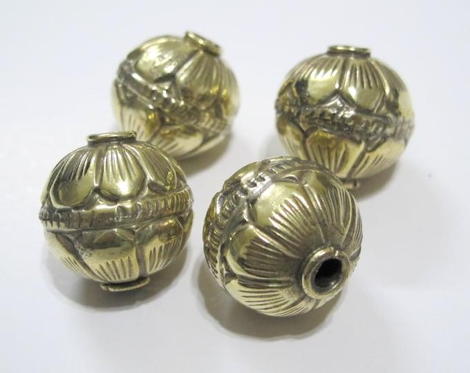 1 BEAD -  Large Size 19 -20 mm Tibetan brass repousse floral design oval rondele shape beads Nepal beads Tibetan beads lotus beads BD996