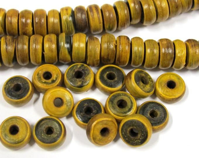 20 BEADS - Rondelle disc shape horn beads from Nepal 10 mm - ML028B