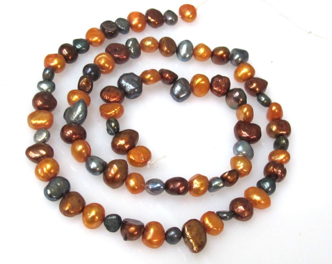 1 Full Strand  - Golden Brown grey champagne color genuine freshwater cultured pearl  beads 16 inches  - PL034