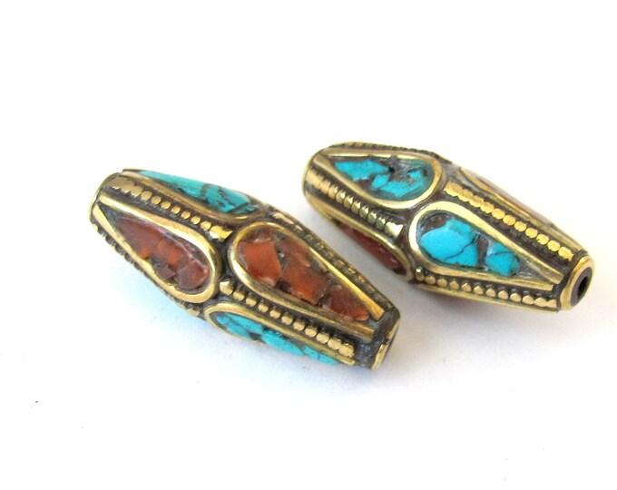 Beautiful  Nepalese Beads - 2 beads-BD028