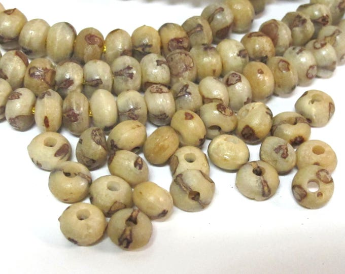 20 BEADS -  Natural palm nut rondelle abacus seed beads 7 -  8 mm wide- ML103B