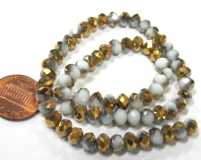 1 Full strand - Faceted abacus AB multi tone golden grey  crystal glass beads 6 mm x 5 mm - AB047