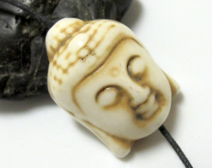 2 BEADS - White ivory color turquoise howlite carved Buddha bead  - BD128