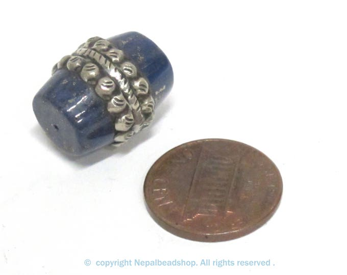 1 Bead - Tibetan silver color encased  lapis lazuli gemstone  bead from Nepal  - BD453B