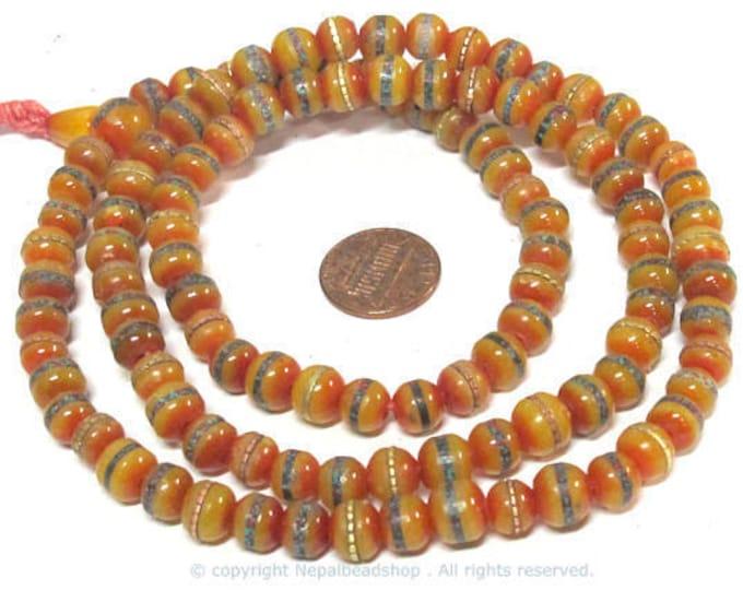 108 mala beads - 8 mm Tibetan honey yellow resin 108 mala beads and Guru bead supply with brass ,turquoise coral inlay - ML109A