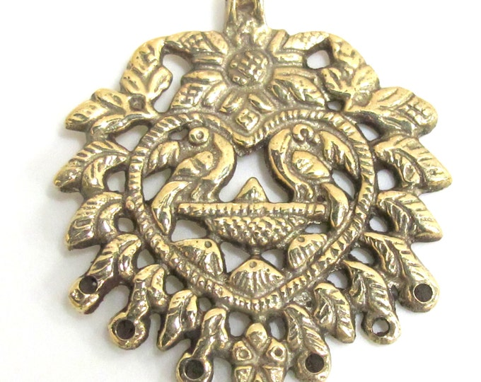 1 Pendant - Ethnic Nepalese Brass connector pendant with double phoenix bird - CP090