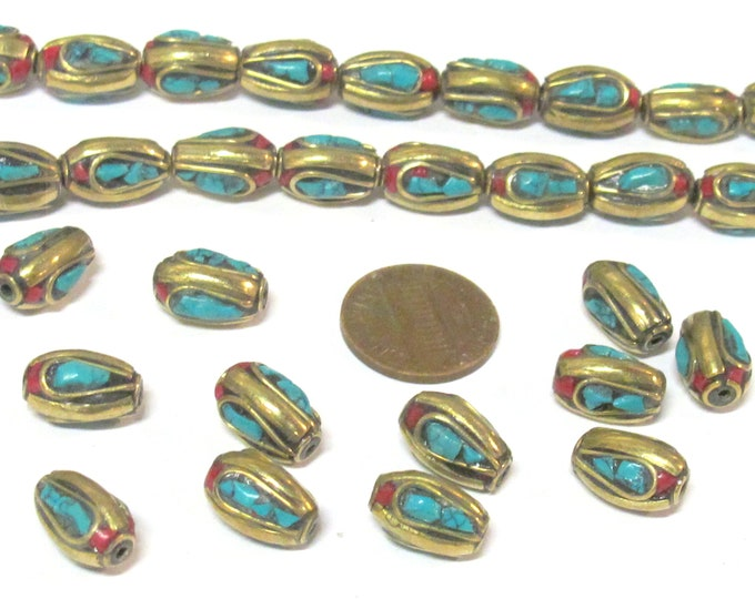 2 beads - Nepal beads Tibetan brass Beads with turquoise coral inlay  - BD728K