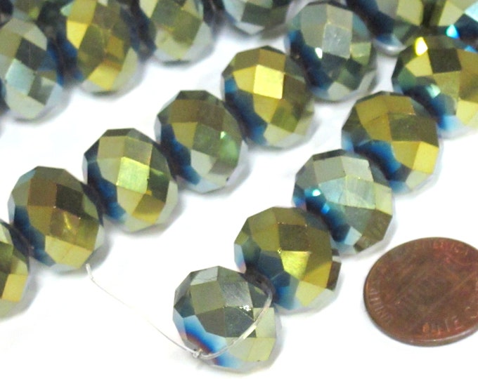 10 beads - Beautiful Large 15 mm size Faceted rondelle shape shiny color AB crystal glass beads - AB016K