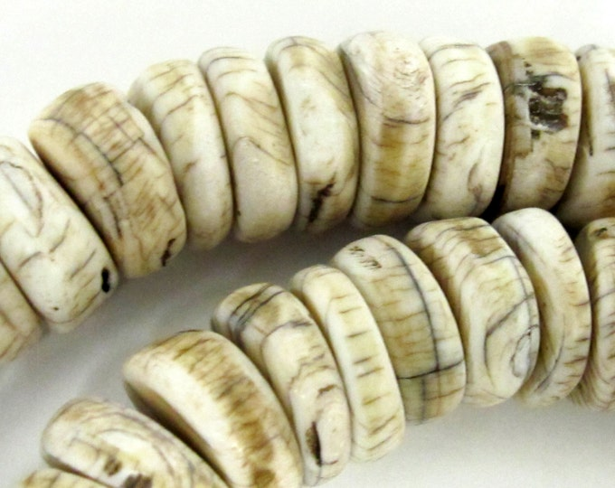 10 Beads - Ethnic Naga natural conch shell flat disc beads 17 - 19 mm size  - CH053E