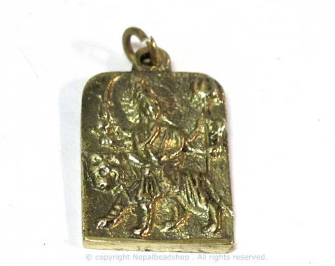 1 Pendant - Hindu Goddess Durga Maa and Om reversible Brass amulet pendant - CP114a
