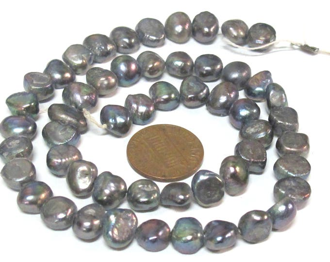 1 Full strand -  Peacock Grey color  irridescent freshwater cultured pearl  beads 15 inches center hole drilled - PL026B
