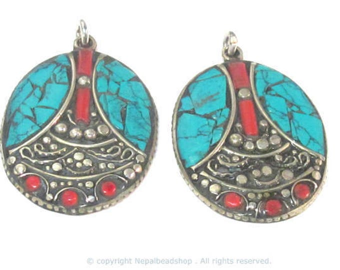 2 pieces - Beautiful oval shape ethnic design Tibetan pendant with mosaic turquoise coral  inlay - PM576Ax