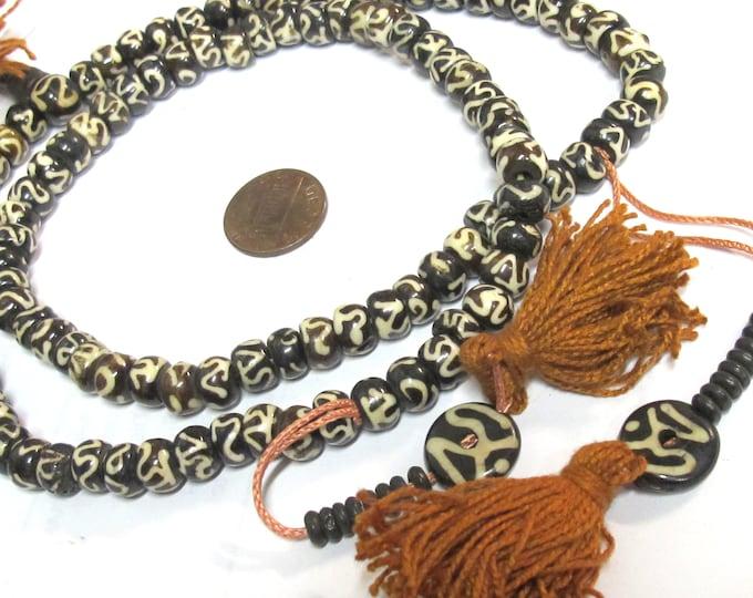 108 BEADS - Om etched tibetan black brown bone beads 8 mm size with guru bead and counters - yoga meditation jewelry mala making - ML117A