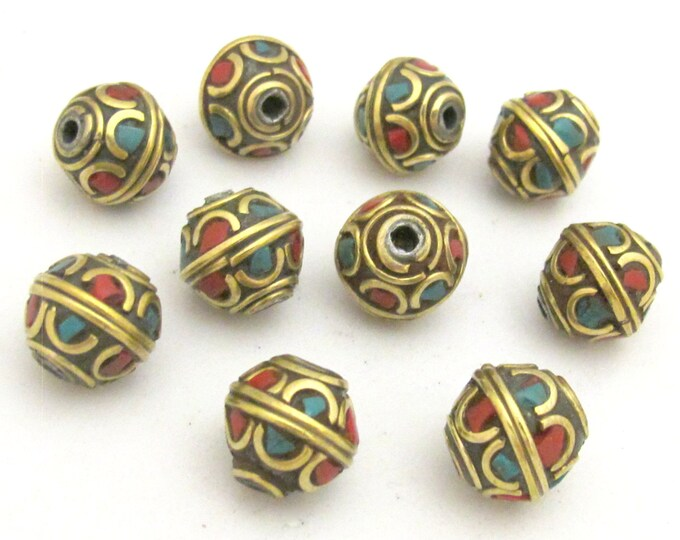 4 beads - Tibetan brass bead with turquoise and coral inlay - BD720