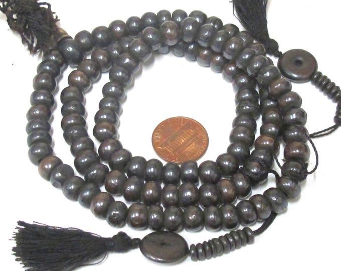 108 Beads - 8 mm Dark Brown black color Tibetan bone mala making beads supply with guru bead  and bone mala counters -   ML093A