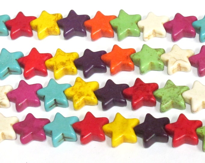 Star beads 1 Full strand - 30 beads  mix colors Star shape howlite beads 15 inches strand - GM183R