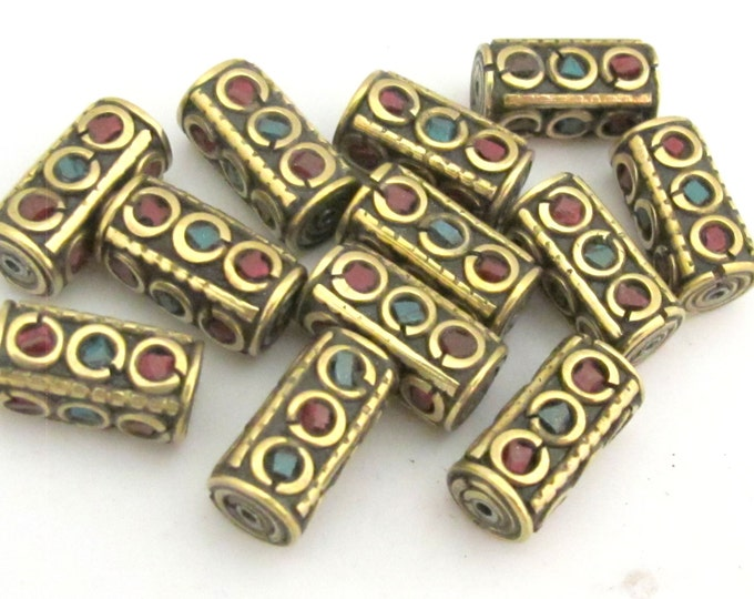 1 bead - Rectangular Tube shape Tibetan brass Beads with turquoise coral inlay  - BD649