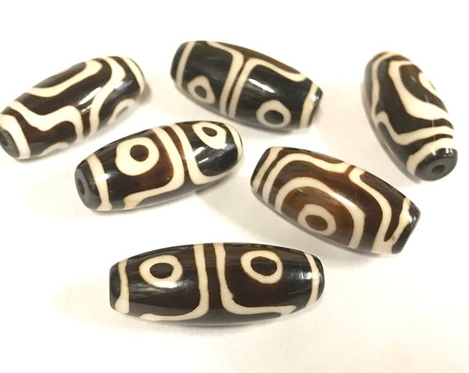 2 Beads set - Ethnic batik bone beads set from Nepal - HB073
