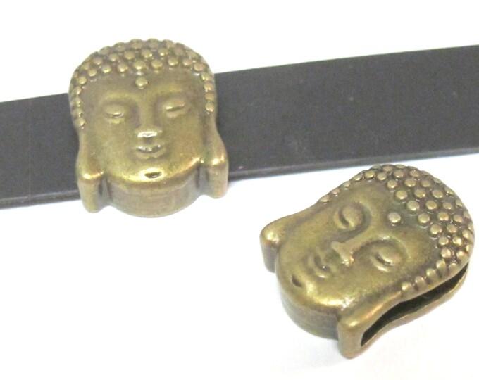 2 Beads- Antiqued brass tone large hole slider Tibetan Buddha bead  - BD111A