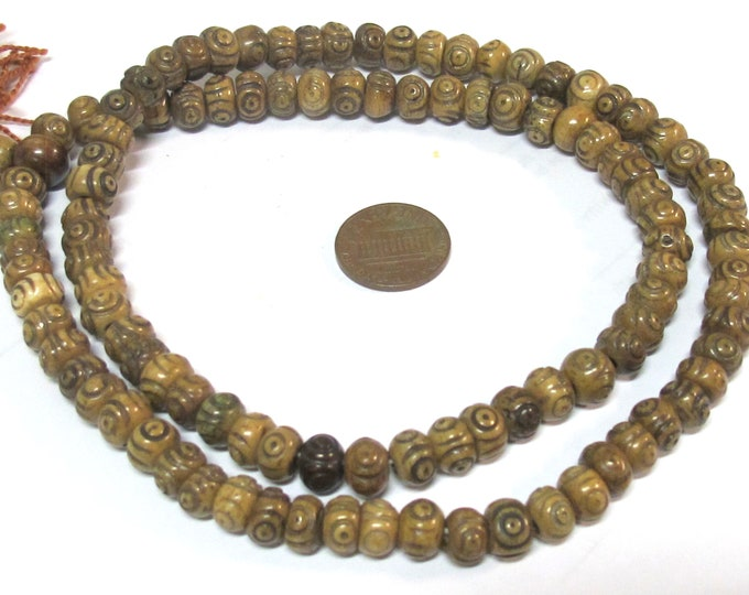 108 beads mala supplies Tibetan carved circles dotted brown color  bone beads 8 mm size - ML118A