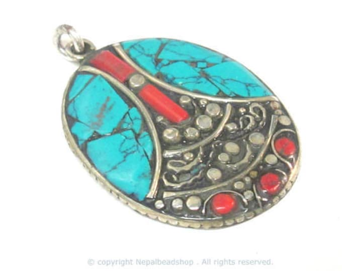 1 pendant - Beautiful oval shape ethnic design Tibetan pendant with mosaic turquoise coral  inlay - PM576A