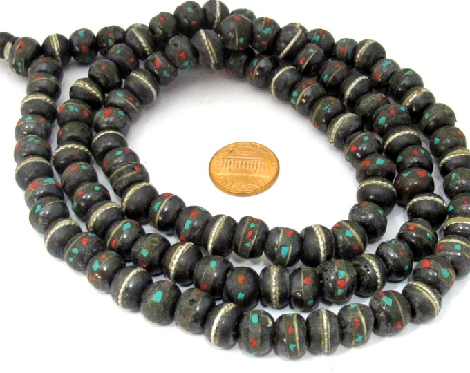 108 bone beads - 10 - 11 mm Tibetan black brown color bone mala beads with turquoise coral inlay and Guru bead supply - ML040A