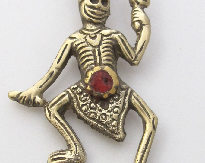 Tibetan silver skeleton pendant with coral inlay - PM140