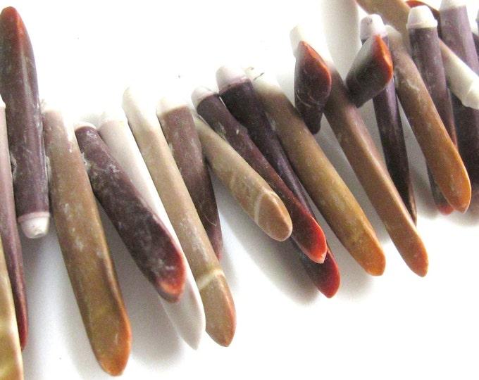 30 Beads -Sea Urchin sticks natural shell beads -- NB030s