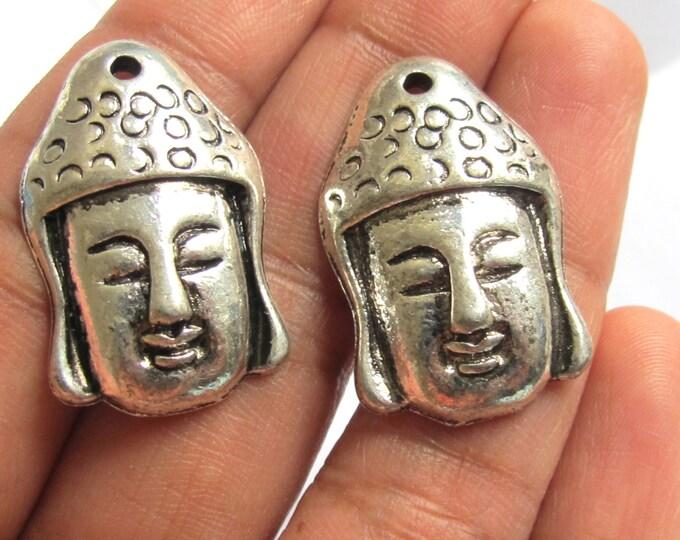 Pair of Tibetan Buddha face pendant bead - 2 pieces - BD371