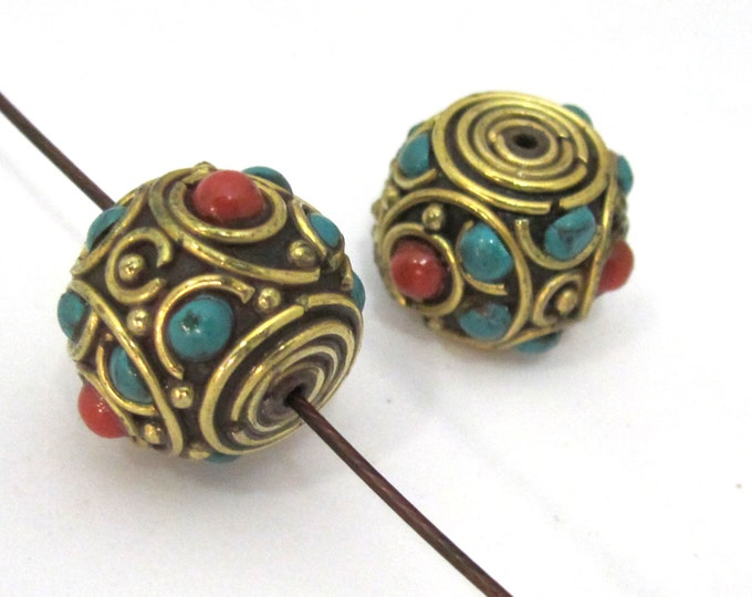 2 BEADS -  Tibetan rondelle shape brass bead with turquoise coral inlay  - BD896