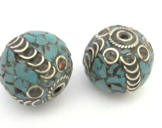 2 BEADS - Large 20 mm size nepalese brass bead with turquoise mosaic inlay - BD633