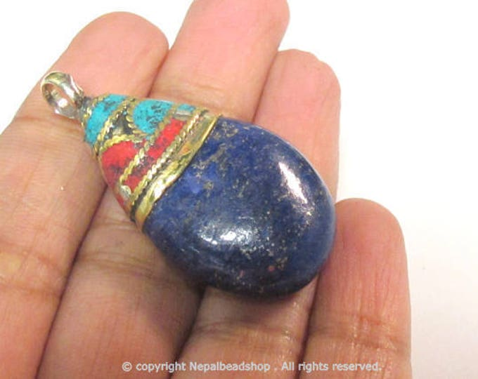 1 Pendant - Beautiful Ethnic Nepal Tibetan lapis drop pendant with brass bail turquoise coral inlay -  PM579