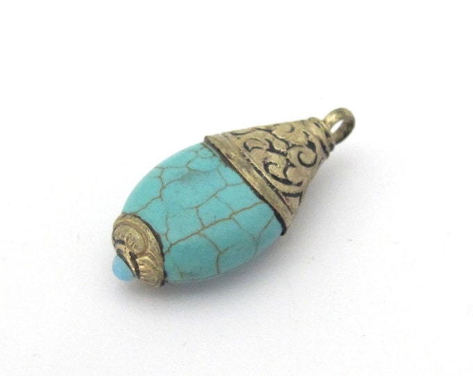 1 Pendant - Tibetan silver teardrop shape turquoise pendant from Nepal with floral carved bail -  PM468