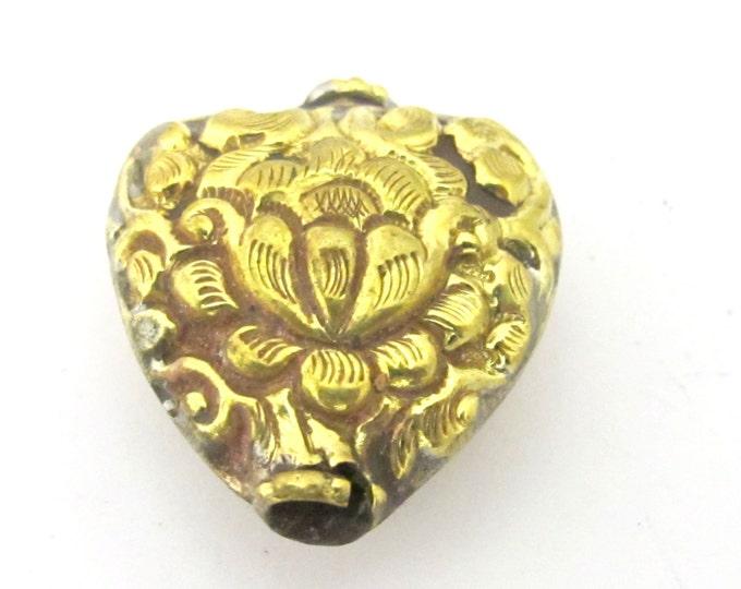 2 Beads - Tibetan Lotus flower repousse heart shape brass bead antiqued gold color - BD853s