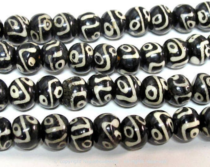 10 beads - Tibetan Nepal batik bone beads dzi eye design mala beads supply 10 mm size bone beads Tibetan beads - ML104B