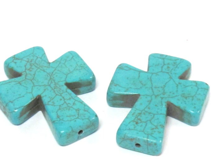 2 Beads - Blue color howlite cross bead 36 mm x 30 mm - GM417s
