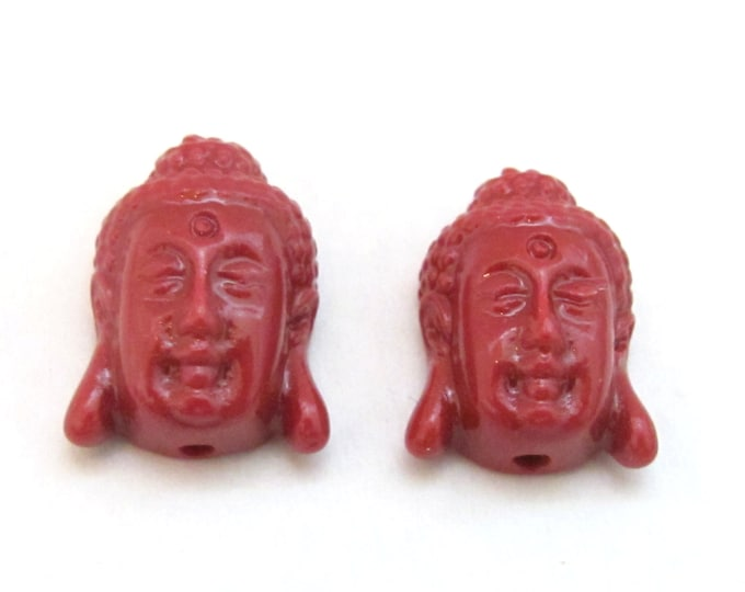 4 BEADS - Red resin light weight small size Buddha face pendant beads - BD700s
