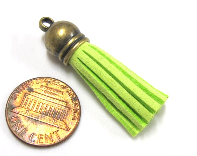 1 Tassel - Small size suede tassels supplies with bronze tone cap lime green color - capped tassle fringe charm pendant -TS001M