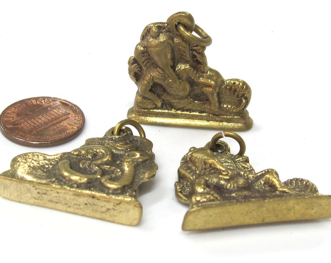3 Pendants - Shree Ganesha seated brass pendant with Om from Nepal - CP116 - custom design copyright Nepalbeadshop