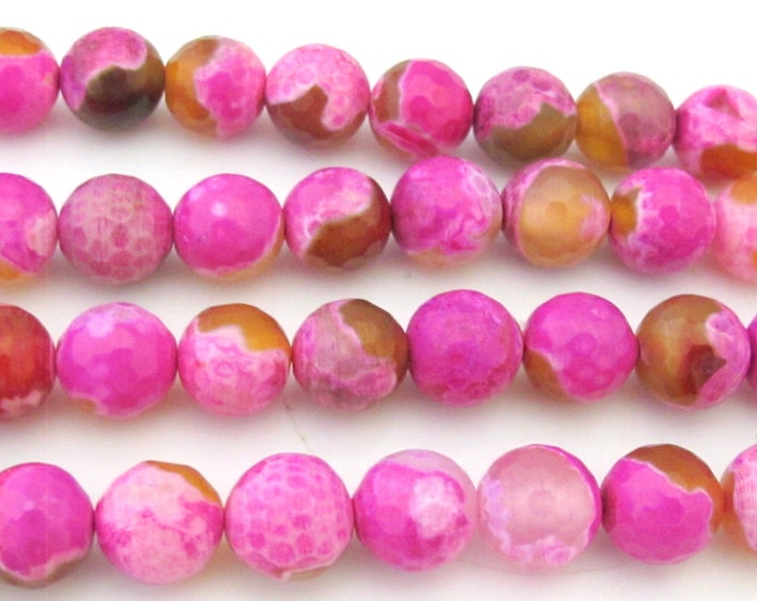 10 BEADS - Beautiful pink dragon veins faceted Agate gemstone beads-  GM347
