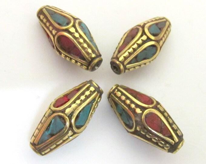 Beautiful Bicone shape Nepalese Beads - 4 beads -    BD074