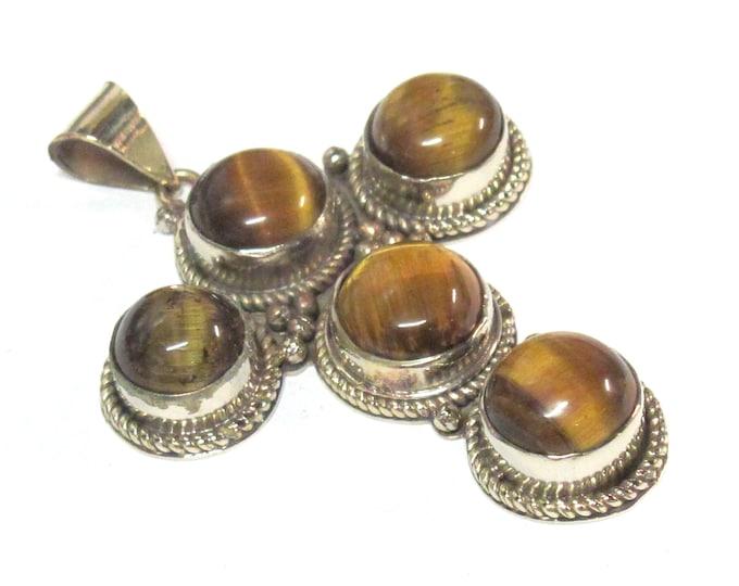 1 pendant - Tibetan silver finish tigers eye inlaid gemstone cross pendant - PM212D